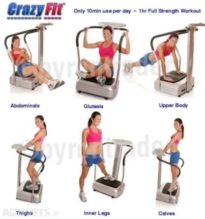 Thriving-Baby-Boomers - Vibration Machines - Crazy Fit Vibration Machine (Woman in several exercise poses on Vibration Machine)
