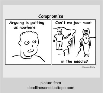 Thriving-Baby-Boomers - Serious Dating - Compromise - Compromise Arguing is getting us nowhere! Can't we just meet in the middle? (Picture from Deadlines and Duct Tape dot com)