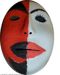 Thriving-Baby-Boomers - Comradery - Half 'devil,' half 'angel' mask (Painted by Linda Wall, 2015)