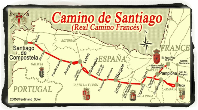 Thriving-Baby-Boomers - Backpacking - Map of the Camino de Santiago route through Spain