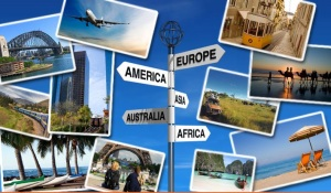 Thriving-Baby-Boomers - Travel Packages - Travel images collage & signs (Europe, America, Asia, Australia, and Africa)